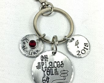 Personalized Graduation Keychain, Oh the Places You Will Go, Graduation Gift, Custom Name Grad Gift, Gift for College Student