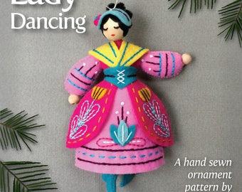 Lady Dancing PDF pattern for a hand sewn wool felt ornament