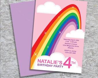 Rainbow Party Invitation - DIY Printable Personalized (Digital File)