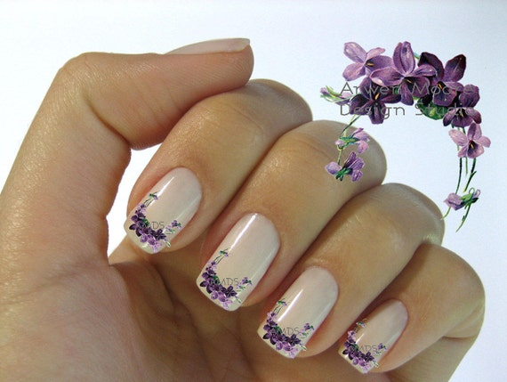 Very chic lavender shabby victorian vintage floral nail art like this item prinsesfo Gallery