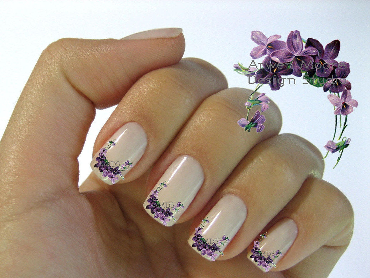 Very chic lavender shabby victorian vintage floral nail art zoom prinsesfo Image collections