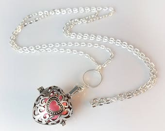 """Heart Shaped Purple, Blue or Pink Harmony Ball, Pregnancy Ball, Angel Caller, Dream Ball, Bola with 25"""" or 30"""" Necklace and Organza Bag"""