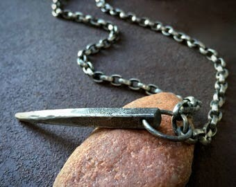 Square Stake Men's Pendant - Rustic and Heavy Sterling Silver Necklace - Rugged and Masculine Jewelry