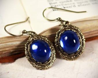 Sapphire Renaissance Earrings, Bridesmaid Jewelry, Medieval Wedding, Ren Faire Bride, SCA Garb, Princess Bride, Victorian Drop, Angelica