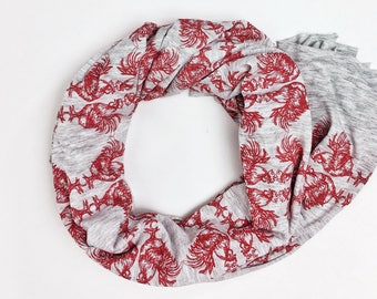 Bundle Up Rooster Pattern Scarf- Hand Printed (Red)