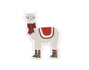 Arlo the Alpaca vinyl illustration sticker