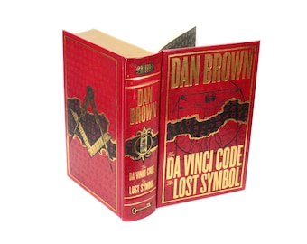 The Da Vinci Code Hollow Book Box Handmade Secret Storage Premium Magnetic Closure Booksafe Large Red Lost Symbol - SALE - READY To SHIP