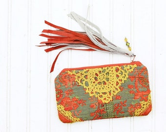 Marmalade Dreams Mini Keepsake Zip Clutch / bohemian gypsy make up cosmetic bag / rustic wedding bridal brides gift