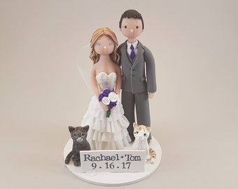 Bride & Groom with Cats Custom Handmade Wedding Cake Topper