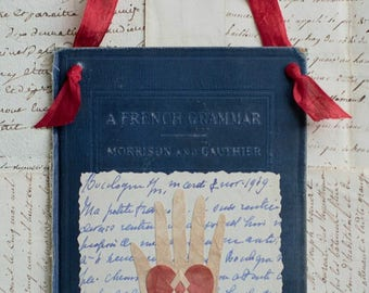 Valentine, French Letter, Book Cover, Vintage Ribbon, Learning the Language of Love, Heart in Hand, Wedding, Engagement, Anniversary, Friend