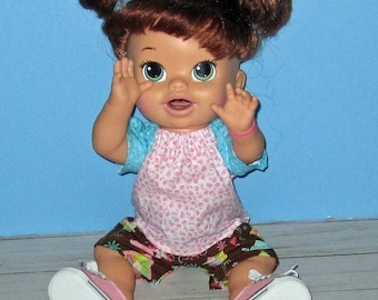 Snackin Sara, Baby Alive, Pink Aqua Brown , Top. Capri Pants, Birds, Flowers, Fits 15 16 Inch Doll,   Doll Clothes