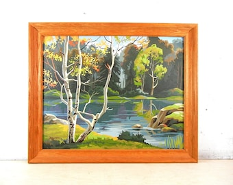 Paint By Number Painting | Lake River PBN | Waterfall | Landscape Painting | Birch Tree | Forest Paint By Number