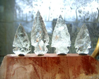 Quartz crystal stone arrowhead for wire wrap jewelry pendant - natural clear raw stone - 3/4 - 1.5 inch - coyoterainbow necklace supply *cc5