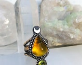 Yellow Dendritic Opal with Faceted Peridot and Crescent Moon in Sterling Ring Size 6