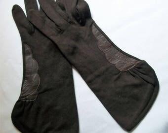 Vintage Gloves, Dark Brown Gloves, Vintage Hansen, HANSEN Gloves, Ladies Gloves, Vintage Ladies Gloves,