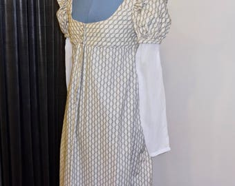 """Readymade Regency Button Front Gown, Ivory with Zig Zag Stripes, 32"""" Bust"""