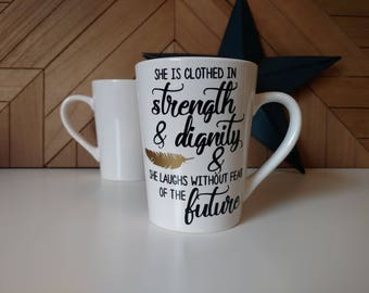 Strength & Dignity // Coffee Mugs with Sayings // Personalized Ceramic Mugs // Tea Cup // Mugs with Scriptures // God is with Us