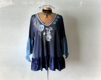 Women's Plus Size Boho Top Blue Skull Shirt Bohemian Clothing Upcycle Eco Friendly Loose Fit Tunic Bell Sleeves V-Neck Top 1X 2X 'CALIOPE'