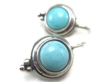 Vintage Earrings Round Turquoise Blue Stone Sterling Silver Bali Cabochon Set