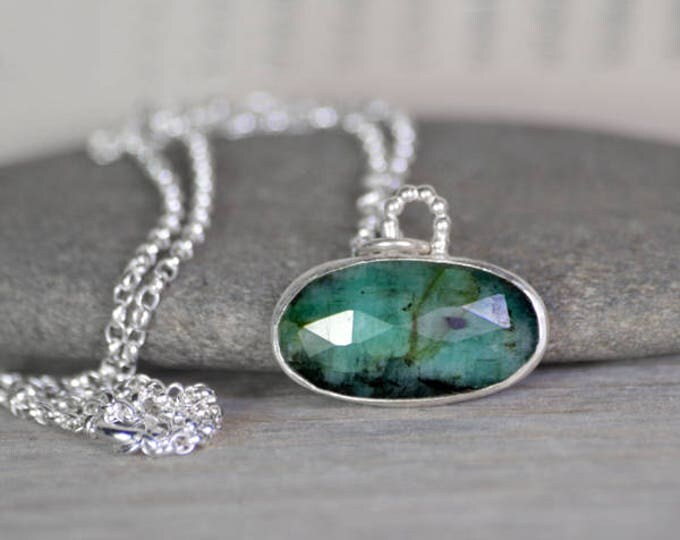 Rose Cut Emerald Necklace, May Birthstone, Large Emerald Necklace Handmade In The UK