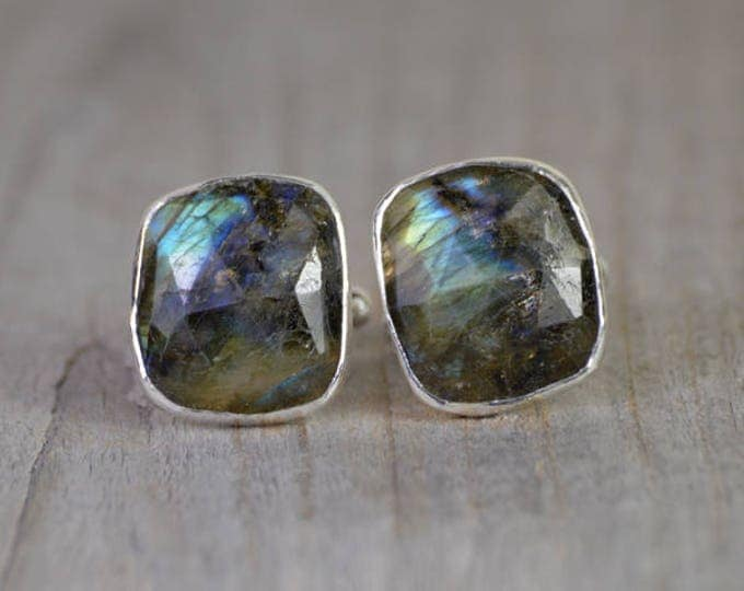 Labradorite Cufflinks Set In Sterling Silver, Gemstone Cufflinks For Him, Wedding Gift Handmade In The UK