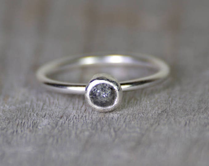 Raw Diamond Engagement Ring, 0.45ct Dark Grey Raw Diamond Ring, Handmade In England