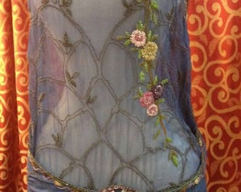 "1920's, 36"" bust, periwinkle blue chiffon beaded gown."