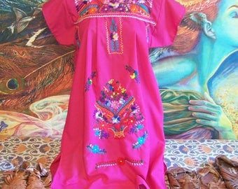 Mexican Dress, Embroidered, Rose, Pink, Fiesta, Frida Kahlo, size S
