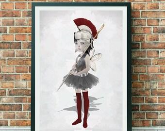 Fairy Art Prints - Warrior Fairy - Wall Decor - A3 Art Print - On Guard