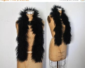 SALE Black Tibetan Fur Scarf / Mongolian Lamb Collar