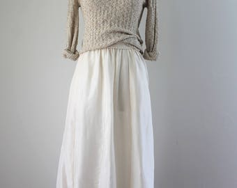 1990s Cream Silk Maxi Skirt