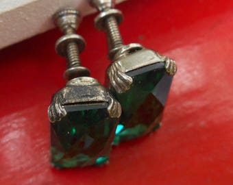 40s 50s emerald green faceted rhinestones set in aged silver metal fairy bling super glam screw on earrings stamped sterling