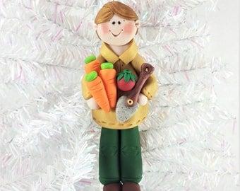 Male Gardener Christmas Ornament - Gift for Gardener - Gardening Ornament - Clay Christmas Ornament - Personalized Christmas Ornament - 6103