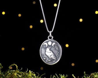 Sterling Silver Raven and Triple Moon - (Pendant or Necklace)
