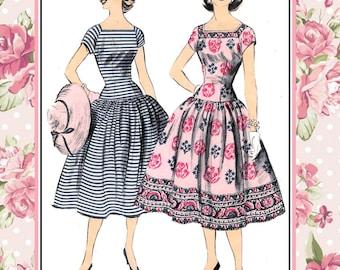 Vintage 1956-ELEGANT DROPPED WAIST Dress-Sewing Pattern-Square Neckline-Flirty Twirl Skirt- Featured in Mademoiselle Magazine-Size 16-Rare