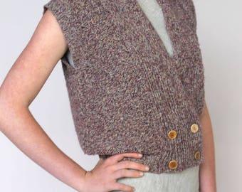 simple times -- vintage 70s button-front knit vest top S/M