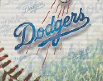 MLB LA Dodgers Baseball Counted Cross Stitch Pattern
