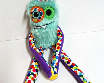 Handmade Monster Plush - OOAK Plush Monster Toy - Hand Embroidered Stuffed Monster - Mint Green Faux Fur Monster - Cute Weird Plush Toy