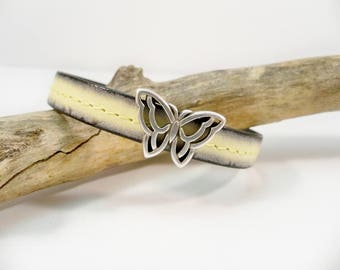 Yellow and Black Leather Butterfly Bracelet, Silver Butterfly, Magnetic Bracelet, Women's Jewelry, Summer Jewelry, Gift for Her