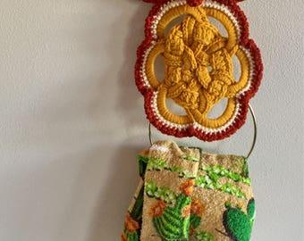 Vintage Crochet Owl, Crochet Towel Hook, Towel Holder, Hand Towel Rod, Boho