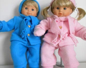 Fleece snowsuits, hats, mitts, scarves, and boots fit Bitty Twins