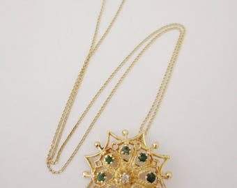 14K Gold Emerald Diamond Necklace Brooch Pendant Pin Chain Yellow Gold Green Clear Gemstone Heirloom Fine Jewelry