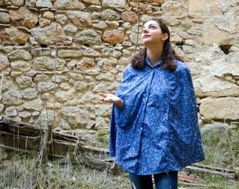 Blue Rain Coat, Retro Tattoo Print Rain Cape with Hood, Waterproof, Gift For Her, Biking Cape,Hiking Raincoat