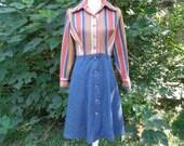 70s Aline Dress size Medium Faux Denim Dress Striped Knit Dress