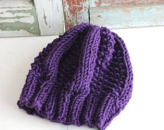 Knit Slouchy Hat Knit Beanie Chunky Wool Beanie Hand Knit by avintageobsession on etsy...FREE USA Shipping