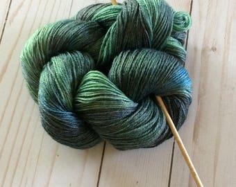"""3 Ply Sheentastic Fingering Weight Yarn, Sock Yarn, Shawl Yarn, Weaving Yarn """"Irish Moss"""" Superwash Merino/Bamboo/Nylon"""