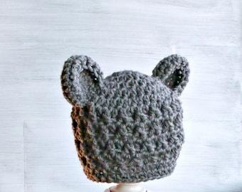 Baby Bear Hat, Crochet Bear Hat, Teddy Bear Hat, Newborn Bear Hat, Crochet Baby Boy Hat, Gray Baby Hat, Baby Shower Gift, Baby Photo Prop