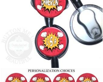 "1 1/2"" Design Stethoscope ID Tag - Personalized Comic Book Hero Explosion Nurse Littmann Identification (A449)"