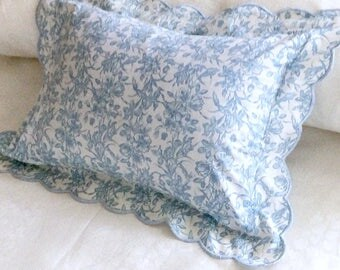 French Boudoir Pillow in Blue Print and Scallop Edge