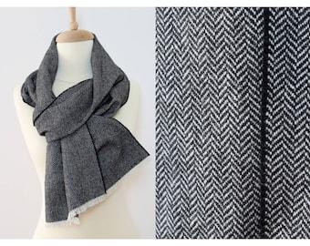 Herringbone Wool Scarf for Men - Black White Tweed Wool Scarves - 100% Wool Fabric Winter Scarves - Long Mens Scarf - Christmas Gift for Dad